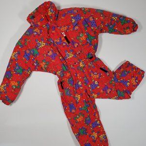 VTG OSSI Circus Clown Print Novelty Ski Suit 4T